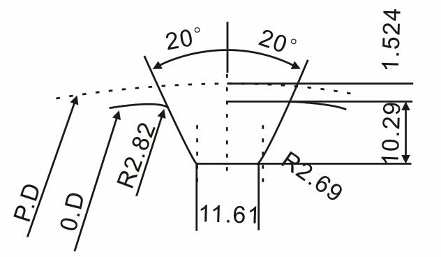 XXH带轮齿形图